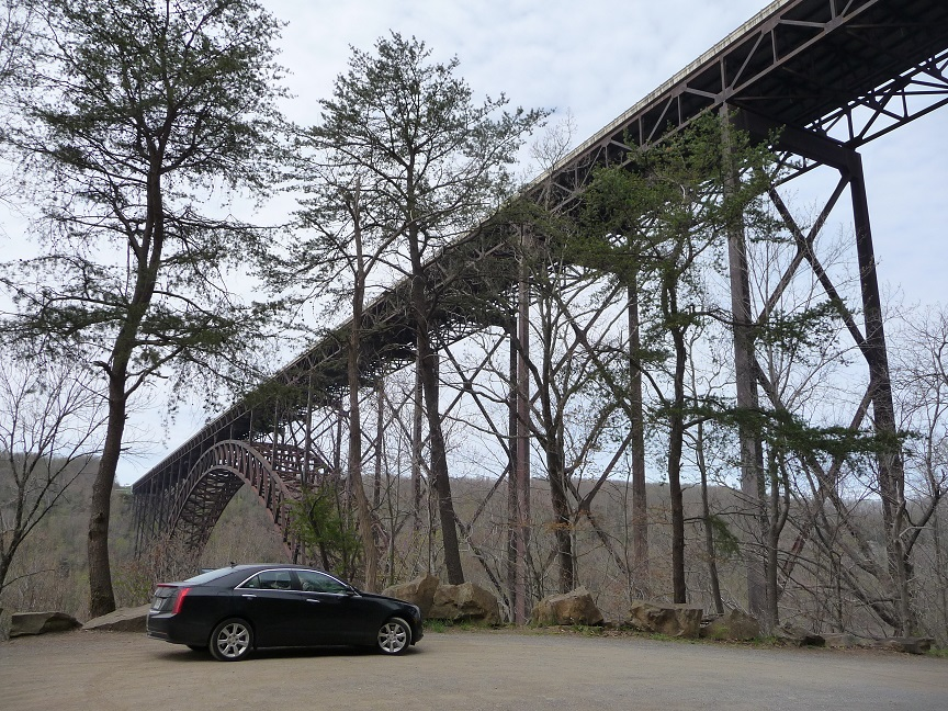 24-Apr-14 - Cadillac at New River Gorge bridge - third highest in USA.jpg