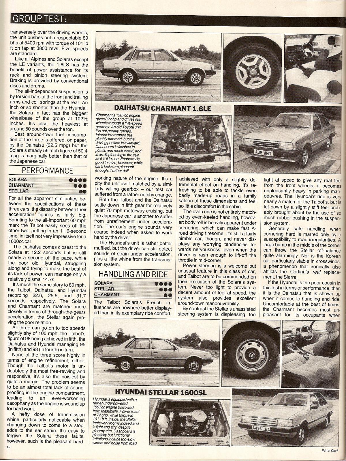 Hyundai Stellar Vs Daihatsu Charmant & Talbot Solara Test 1984 (2).jpg