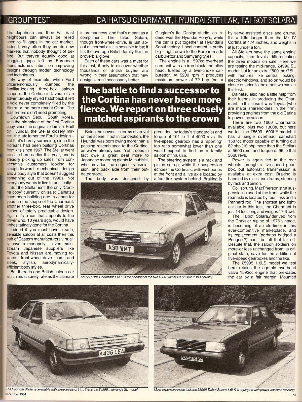 Hyundai Stellar Vs Daihatsu Charmant & Talbot Solara Test 1984 (1).jpg