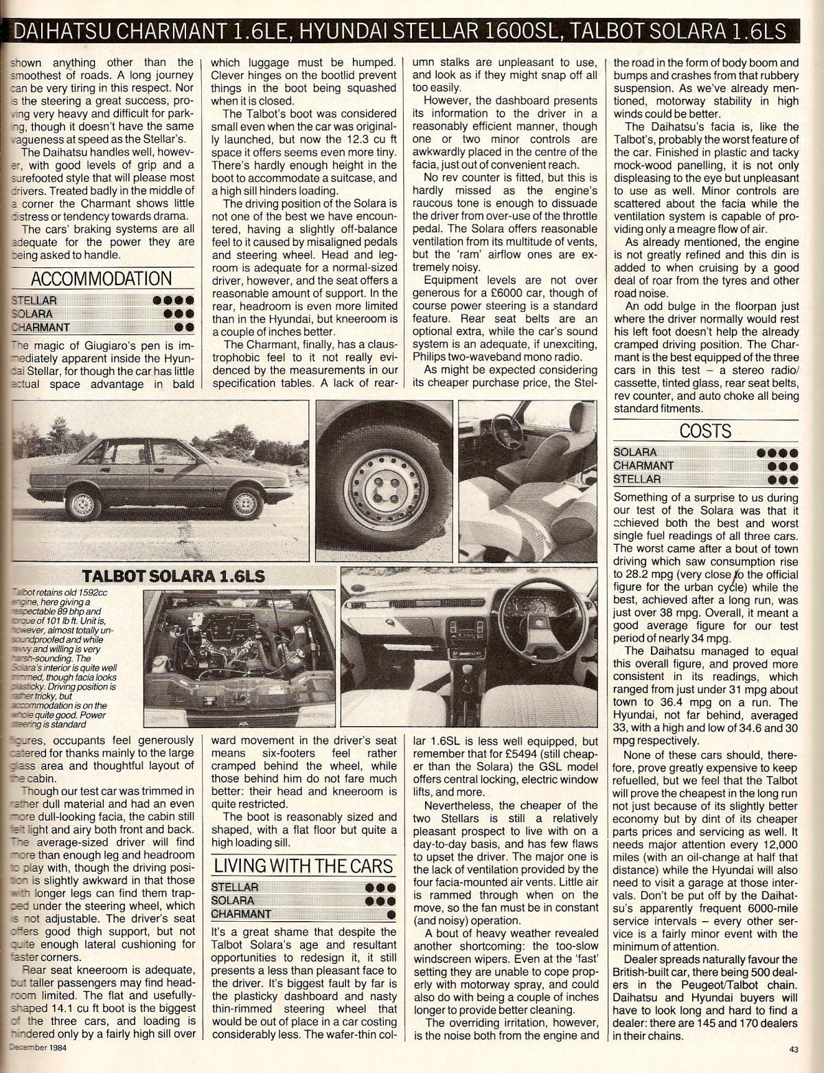 Hyundai Stellar Vs Daihatsu Charmant & Talbot Solara Test 1984 (3).jpg